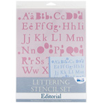 Blue Hills Studio Lettering Stencil Set: Editorial, 4 Pieces