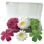 "Flower Pack Hot Pink/Yellow/Lime; Color: Multi; Material: Paper; Size: 2""+; Type: Dimensional; (model BHS10752), price per pack"