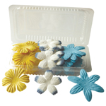 "Flower Pack Yellow/White/Royal; Color: Multi; Material: Paper; Size: 2""+; Type: Dimensional; (model BHS10753), price per pack"