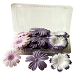 "Flower Pack Purple/Plum; Color: Purple; Material: Paper; Size: 2""+; Type: Dimensional; (model BHS10755), price per pack"