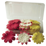 "Flower Pack Red/Cream/Yellow; Color: Multi; Material: Paper; Size: 2""+; Type: Dimensional; (model BHS10759), price per pack"