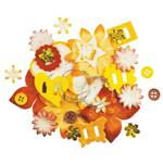 Blue Hills Studio™ Irene's Garden™ Potpourri Paper Flower & Embellishment Pack Yellows: Yellow, Paper, 20 mm, 30 mm, 50 mm - 52 mm, Dimensional, (model BHS35), price per pack