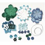 Blue Hills Studio™ Irene's Garden™ Potpourri Paper Flower & Embellishment Pack Aquas: Blue, Green, Paper, 20 mm, 30 mm, 50 mm - 52 mm, Dimensional, (model BHS39), price per pack
