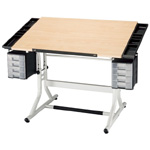 "Alvin® CraftMaster™ II Deluxe Art Drawing and Hobby Table White Base with Maple Woodgrain Top: 0 - 30, White/Ivory, Steel, 28"" - 32"", White/Ivory, Wood, 28"" x 40"", (model CM48-4-WB), price per each"