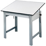 "Alvin® DesignMaster Compact Drawing Table; Angle Adjustment Range: 0 - 45; Base Color: Black/Gray; Base Material: Steel; Height: 37""; Top Color: White/Ivory; Top Material: Melamine; Top Size: 36"" x 48""; (model DM48CT), price per each"