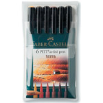 Faber-Castell® PITT® Artist Brush Pen Terra 6-Color Set; Color: Brown, Orange; Ink Type: India, Pigment; Tip Type: Brush Nib; Type: Brush Pen; (model FC167106), price per set
