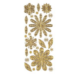 "Dazzles™ Stickers Gold Flower: Metallic, 4"" x 9"", Outline, (model HOTP1834), price per each"
