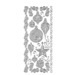 "Dazzles™ Stickers Silver Ornaments: Metallic, 4"" x 9"", Outline, (model HOTP1878), price per each"