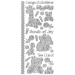 "Dazzles™ Stickers Baby Silver: Metallic, 4"" x 9"", Outline, (model HOTP2011), price per each"