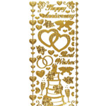 "Dazzles™ Stickers Wedding & Anniversary Gold: Metallic, 4"" x 9"", Outline, (model HOTP2020), price per each"