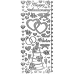"Dazzles™ Stickers Wedding & Anniversary Silver: Metallic, 4"" x 9"", Outline, (model HOTP2021), price per each"