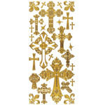 "Dazzles™ Stickers Crosses Gold: Metallic, 4"" x 9"", Outline, (model HOTP2024), price per each"