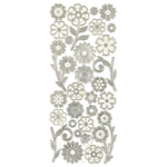 "Dazzles™ 3-D Flowers Silver: Metallic, 4"" x 9"", Dimensional, (model HOTP2079), price per each"