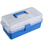 "Heritage Arts™ Two-Tray Art Tool Box: Blue, Clear, Plastic, 7 1/2""l x 14 1/4""w x 6 1/4""h, (model HPB0912), price per each"