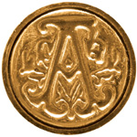"Manuscript Initial Ceramic Mini Seal A; Shape: Round; Size: 3/4""; (model MSH725A), price per each"
