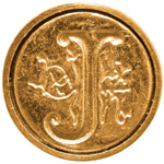 "Manuscript Initial Ceramic Mini Seal J; Shape: Round; Size: 3/4""; (model MSH725J), price per each"