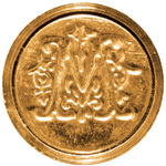 "Manuscript Initial Ceramic Mini Seal M; Shape: Round; Size: 3/4""; (model MSH725M), price per each"