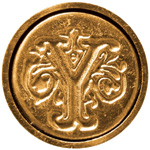 "Manuscript Initial Ceramic Mini Seal Y; Shape: Round; Size: 3/4""; (model MSH725Y), price per each"