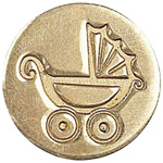 Manuscript Decorative Wax Sealing Coin Pram; Shape: Round; Size: 15 mm; (model MSH727PRM), price per each