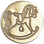 Manuscript Decorative Wax Sealing Coin Rocking Horse; Shape: Round; Size: 15 mm; (model MSH727RCK), price per each
