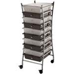 "Blue Hills Studio™ X-Frame Storage Cart 10-Drawer (Standard) Clear/Smoke; Color: Black/Gray, Clear; Drawer Size: 13 5/8""l x 9 5/8""w x 5/8""h; Material: Plastic; Quantity: 10-Drawer; Size: 15""d x 11 1/4""w x 37 1/2""h; (model SC10CSM-X), price per each"