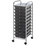 "Blue Hills Studio™ Storage Cart 10-Drawer (Standard) Smoke; Color: Black/Gray; Drawer Size: 13 5/8""l x 9 5/8""w x 5/8""h; Material: Plastic; Quantity: 10-Drawer; Size: 15""d x 11 1/4""w x 38""h; (model SC10SM), price per each"