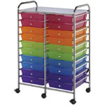 "Blue Hills Studio™ Storage Cart 20-Drawer (Standard) Multi-Colored; Color: Multi; Drawer Size: 13 5/8""l x 9 5/8""w x 5/8""h; Material: Plastic; Quantity: 20-Drawer; Size: 15 1/4""d x 23 5/8""w x 38""h; (model SC20MCDW), price per each"