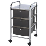 "Blue Hills Studio™ Storage Cart 3-Drawer (Deep) Smoke; Color: Black/Gray; Drawer Size: 13 3/4""l x 9 3/4""w x 5""h; Material: Plastic; Quantity: 3-Drawer; Size: 15 ""d x 11 1/4""w x 26""h; (model SC3SM), price per each"