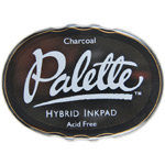 Palette™ Hybrid Ink Full Size Pad Charcoal: Black/Gray, Pad, Full Size Oval, Waterproof, (model SSPCH), price per each