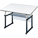 "Alvin® WorkMaster® Table Black Base White Top 37 1/2"" x 72""; Angle Adjustment Range: 0 - 40; Base Color: Black/Gray; Base Material: Steel; Height Range: 29"" - 46""; Top Color: White/Ivory; Top Material: Melamine; Top Size: 37 1/4"" x 72""; (model WM72-3-XB), price per each"
