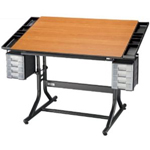 "Alvin® CraftMaster™ II Deluxe Art Drawing and Hobby Table Black Base with Cherry Woodgrain Top: 0 - 30, Black/Gray, Steel, 28"" - 32"", Brown, Wood, 28"" x 40"", (model CM48-3-WBR), price per each"
