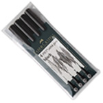 Faber-Castell PITT Artist Pen: Black, Wallet of 4 Pens (Assorted Line Widths)