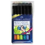 "Faber-Castell PITT Artist Pen ""Shojo"" Manga: Wallet of 6 Pens"