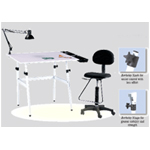 Martin Berkeley 4-pc Combo White with White Top, Tray Lamp and Drafting Ht. Chair: Model # U-DS14041WH
