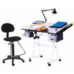 Martin Creation Station 4 Pieces Combo Table Package with Drafting High Chair: Black Base with Cherrywood Top
