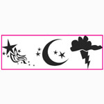 "Paasche ST-5 Tattoo Stencil: 3"" X 10"", Thunder Cloud, Moon & Shooting Star"