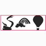 "Paasche ST-8 Tattoo Stencil: 3"" X 10"", Hot Air Balloon, Rainbow & Snake"