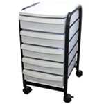 "Alvin® Mobile Organizer White; Color: White/Ivory; Material: Plastic; Quantity: 5-Drawer; Size: 13 3/4""d x 17 1/4""w x 25 1/2""h; (model TAB33), price per each"