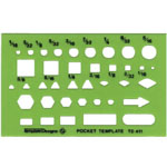 "Alvin® Pocket Guide Template; Size: 2 1/2"" x 3 7/8"" x .030""; Type: General Purpose; (model TD411), price per each"