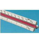 Fairgate® T Series 30cm Solid Aluminum Metric Triangular Scale; Color: White/Ivory; Material: Aluminum; Size: 30 cm; Type: Metric; (model TM12), price per each