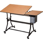 "Alvin® CraftMaster™ III Split-Top Drafting Drawing and Art Table Black Base Cherry Woodgrain Top: 0 - 30, Black/Gray, Steel, 35"" - 39 1/2"", Brown, Wood, 30"" x 60"", (model CM60-3-WBR), price per each"