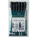 Faber-Castell® PITT® Artist Brush Pen Grey 6-Color Set; Color: Black/Gray; Ink Type: India, Pigment; Tip Type: Brush Nib; Type: Brush Pen; (model FC167104), price per set