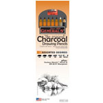 General's® Charcoal Drawing Pencil Set; Color: Black/Gray, White/Ivory; Degree: 2B, 4B, 6B; Format: Pencil; (model G557-6A), price per set