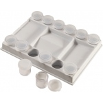 "Heritage Arts™ Removable Cup Palette; Color: Clear; Material: Plastic; Size: 7/8"" x 1""; Type: Cup; (model PP17), price per each"