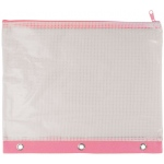 "Alvin® 3-Ring Binder Mesh Bag 8"" x 11"" Pink Trim: Red/Pink, Vinyl, 8"" x 11"", Mesh Bag, (model NBR811P), price per each"