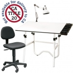 "Alvin® CC Series Creative Center White Base Onyx Table with Office Chair Storage Tray and Lamp; Angle Adjustment Range: 0 - 45; Base Color: White/Ivory; Base Material: Steel; Height Range: 29"" - 44""; Top Color: White/Ivory; Top Material: Melamine; Top Size: 30"" x 42""; (model CC2001A), price per each"