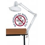 "Alvin® White Swing-Arm Combination Lamp; Color: White/Ivory; Shade Size: 10"" & Up; Style: Swing-Arm; Wattage: 26-75w; (model CL1755-D), price per each"