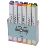 Copic® Sketch 12-Color Basic Marker Set: Multi, Double-Ended, Alcohol-Based, Refillable, Broad Nib, Brush Nib, (model SB12), price per set