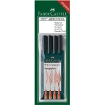 Faber-Castell® PITT® Artist 4-Pen Set Sanguine; Color: Brown, Orange; Ink Type: India, Pigment; Tip Type: Brush Nib, Fine Nib, Medium Nib, Super Fine Nib; (model FC167102), price per set
