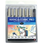 Pigma® Manga-Comic Pro Sketching and Inking 8-Piece Set; Color: Black/Gray; Ink Type: Pigment; Tip Size: .005mm, .01mm, .02mm, .03mm, .05mm, .08mm, .7mm, 1mm; Tip Type: Brush Nib, Fine Nib, Ultra Fine Nib; Type: Brush Pen; (model 50203), price per set